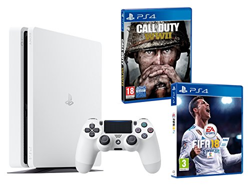 PS4 Slim 500Gb Blanca Playstation 4 Consola - Pack 2 Juegos - FIFA 18 + Call of Duty WW2
