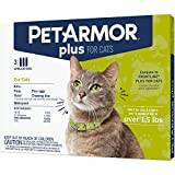 PETARMOR Plus Flea & Tick Prevention for Cats with Fipronil (Over 1.5 lb), Waterproof & Fast-Acting Topical Cat Flea Treatment, 3 Month Supply