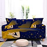 WXQY Juego de Fundas de sofá elásticas con patrón de Luna y Estrellas Funda de sofá Universal de Cuatro Estaciones Funda de sofá Antideslizante A6 4 plazas