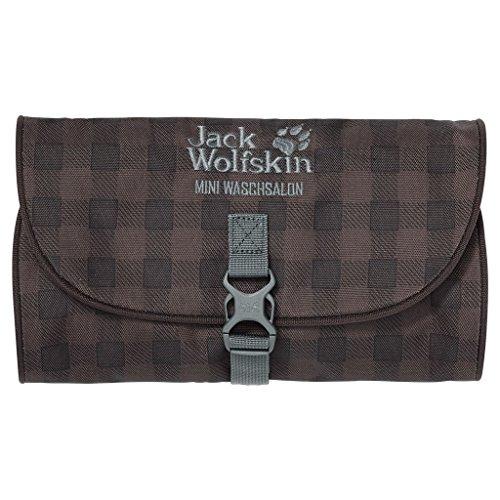 Jack Wolfskin Mini Waschsalon-, Unisex, Kulturbeutel Mini Waschsalon, Mocca Classic Check, 26 x 15 x 1,5 cm, 0,70 l
