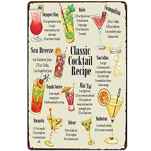Original Vintage Design Classic Cocktail Recipe Tin Metal Sign Wall Art, Thick Tinplate Print Poster Wall Decoration for Bar/Kitchen (Cocktail Recipe, 8x12 Inches (20x30 cm))