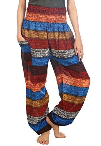 LOFBAZ Harem Pants for Women Yoga Boho Hippie Clothing Bohemian Palazzo Beach Maternity Pajama Gypsy Indian Travel Clothes Colourful 2 Earth Sea S