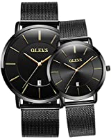 Olevs Couples Watches for Men and Women Couple Watches Set Watch Men Women Ultra Thin Quartz Analog Wrist Watches His and Hers Casual Watch Leather Wristwatch for Men Women Lovers Set of 2