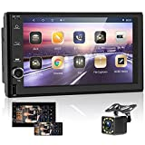 Android Car Stereo Double Din Touchscreen Car Radio with Navigation 7 Inch Car Multimedia Radio Audio Receiver Bluetooth FM GPS WiFi USB Mirror Link Split Screen + Backup Camera