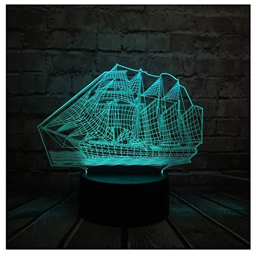 ASHENG 3D Retro Ancient Sailing Sea Boat Ship LED Lamp Chinese Style Multicolor Illusion RBG Night Light USB Table Desk Decor
