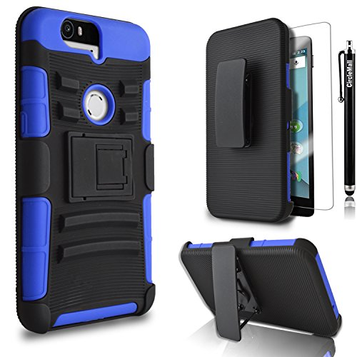 Nexus 6P Case, Circle [Heavy Duty] Combo Rugged Shell Cover Holster with Built-in Kickstand and Holster Locking Belt Clip + Circle(TM) Stylus Touch Screen Pen and Screen Protector Blue