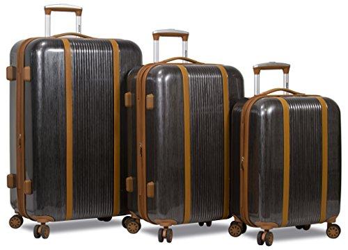 Dejuno Monroe 3-Piece Hardside Spinner TSA Combination Lock Luggage Set, Black, One Size