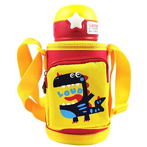 Botella de agua a prueba de fugas, sin BPA, de acero inoxidable, mochila de dinosaurios de dibujos animados, doble cubierta para niños, 360 ml (amarillo)