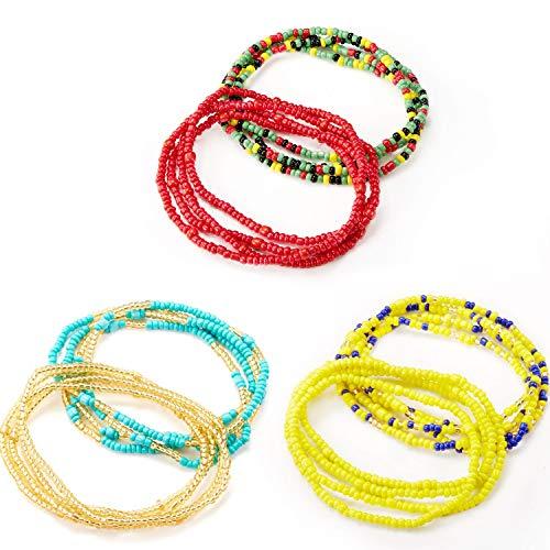 6 Stücke Sommer Schmuck Taille Perle Set, Bunte Taille Perle, Bauchperle, Afrikanische Taille Perle, Körperkette, Perlen Bauchkette, Bikini Schmuck für Damen Mädchen