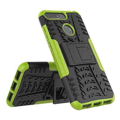JMstore Cover Compatibile con Huawei Honor 7A/Y6 2018 SchermoVetro temperato,[Staffa] Custodia in Silicone Misto Doppio (Verde)