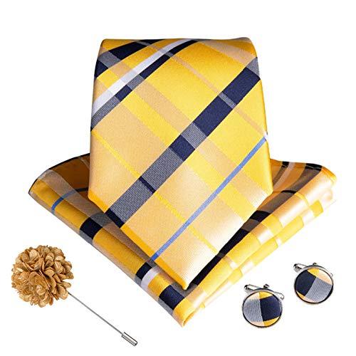 GPZFLGYN Set di cravatte floreali nere per uomo Set di gemelli da polso in tessuto jacquard di seta fatta a mano