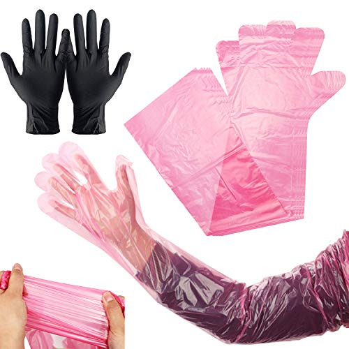 Field Dressing Gloves 20 Pairs, Deer Gutting Gloves and Nitrile Mittens, Deer Cleaning Gloves, Field Dressing Mittens with Long and Short Gutting Gloves Combo Pack for Hunting