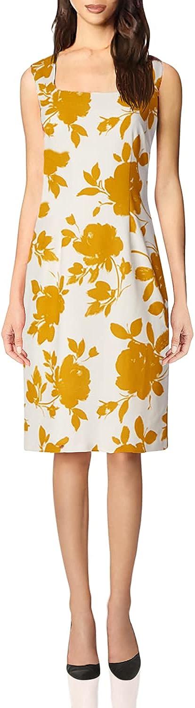 Kasper Women's Phoenix Mall Sleeveless Ranking TOP8 Painted Floral Neck Square Crepe Scuba