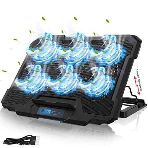IVSO Laptop Cooling Pad, Laptop Cooler Pad (6 Quiet Led Fans), Dual USB Powered Gaming Laptop Cooling Stand Compatible up to 17' Laptop Computer,Wind Speed Adjustable, 5 Stand Height Adjustable, Black