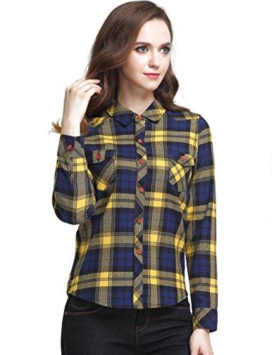 Camii Mia Damen Karierte Bluse Flanell Hemd Baumwolle Fleece Gefüttert Langarm Checked Shirt (Small, Gelb)
