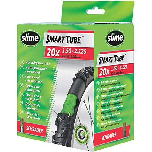 Slime 30058SL Bike Inner Tube with Slime Puncture Sealant, Self Sealing, Prevent and Repair, Schrader Valve, 40/57 - 406mm (20