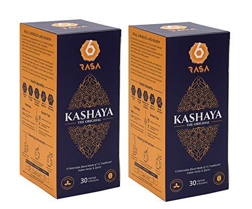 6rasa Kashaya – Herbal Tea   15 Ayurvedic Spices Like Ashwagandha, Black Pepper, Cardamom, Turmeric   Kadha Mix   Caffeine Free   100% Natural   No Added Sugar (2.5 g Each, 30 Dip Bags) – Pack of 2
