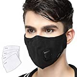 Lyanty Anti Pollution Mask Lightweight Breathable Mask Washable Cotton Mouth Masks with Valve Replaceable...