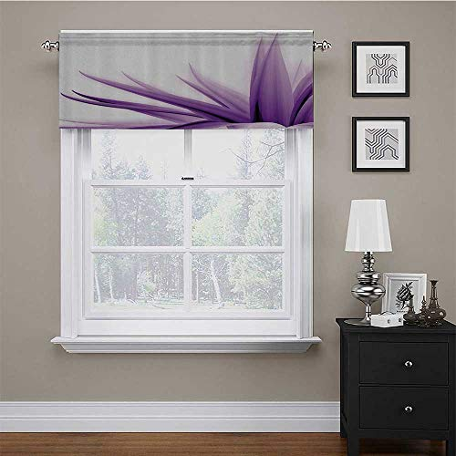 Adorise Window Curtains Purple Ombre Long Leaves Water Colored Print with Calming Details Image Window Curtain Valance Rod Pocket for Window Living Dinning Room Bathroom Purple and White 54 x 18 Inch