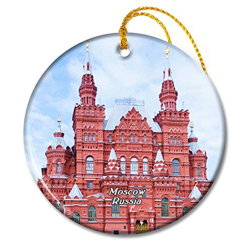 Umsufa Russia Red Square Moscow Christmas Ornaments Ceramic Sheet Travel Souvenir Gift