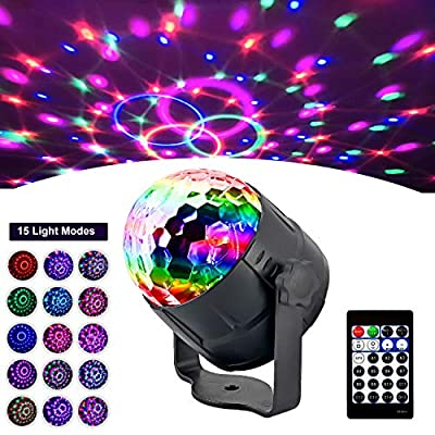 [2020 Latest Version 15 Colors] AOGUERBE Stage Light DJ Party Lights Disco RGB LED Mini Magic Crystal Ball Strobe Lamp Sound Activated Remote Control Halloween Christmas Lighting Atmosphere [UK Plug]
