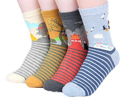 Famous Japanese Animation Series Women's Socks 4pairs Made in Korea