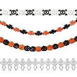 Yuccer Halloween Bandera Guirnalda de Papel Decoracion Halloween Murciélagos y Fantasmas Fiesta Evento (A 4 Pack)