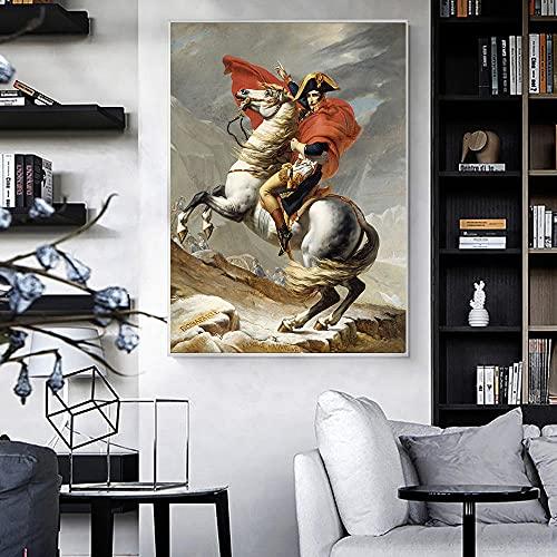 WKAQM Soldado En Caballo Cartel Impresiones Grande Tamaño Pared Pintura Francia Napoleón Lienzo Arte Nórdico Oficina Vivir Cuadros Cartel Decoración Sin Marco