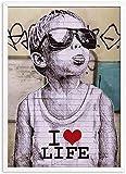 SXXRZA Kunstwerk Gemälde 50 x 70 cm ohne Rahmen Banksy