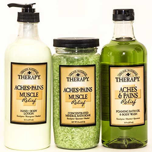 Village Naturals Therapy Aches and Pains Muscles Relief Lotion, Bath Soak, Body Wash