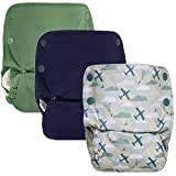 GroVia Reusable All in One Snap Baby Cloth Diaper (AIO) - 3 Pack (Color Mix 1)