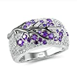 DONG RingFashion Shiny Tree Branch Ring Colored Crystal Zircon Branch Ring Women's Unique Branch Wedding Reception Jewelry Gift 11 Purple