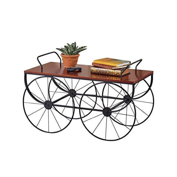 Walnut Finish Classic Wagon Wheeled Coffee Table | Stationary Black Metal Wheels | Easy Assembly | Metal, Wood