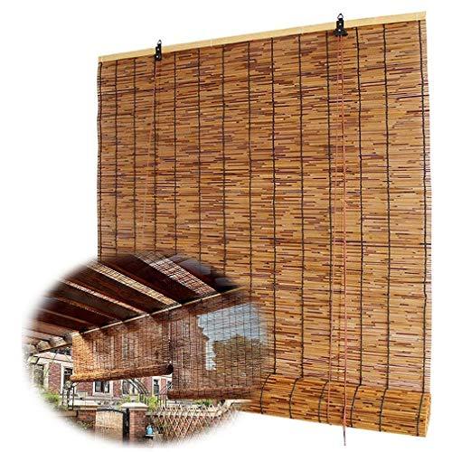 Persiana enrollable de bambú retro para ventana, persiana de caña natural, cortina enrollable, persiana romana con elevación, impermeable / parasol / aislamiento térmico,para interior,exterior,patio.