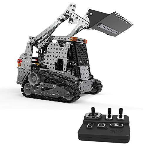 Yamix RC Truck Building Kits 2.4G 10 Channel Remote Control Truck, 1153 Pieces Metal RC Front Loader Bulldozer Construction Vehicle DIY Assembly RC Forklift Building Blocks - SW(RC)-008