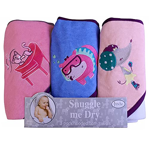 Frenchie Mini Couture, Hooded Bath Towels for Babies, 80% Cotton/20% Polyester, Kitty/Hippo/Mouse Baby Bath Towel Set, Pack of 3