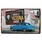 Retro Tin Posters Kuba Old Blau Auto Che Guevara, Metall