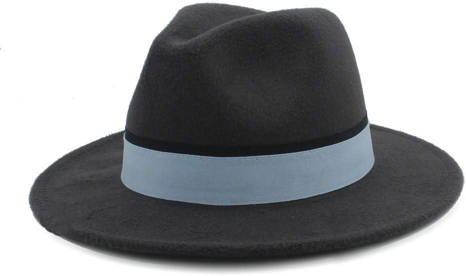 HXGAZXJQ Men Women Winter Fedora Hat with Cloth Belt Pop Wide Brim Church Fascinator Hat Casual Wild Jazz Hat Size 56-58CM (Color : Dark Gray, Size : 56-58)