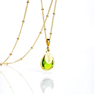 Personalized Peridot Necklace, August Birthstone Pendant Necklace [TPwOV]