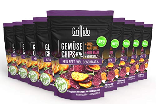 Grillido Gemüse Chips - Mix I 9er Pack I 9x25g I 100{48e33d9685cba2dc5e01b8cd954dc5215dc40a14cfa5cd543a51576b7fc4aa74} natürlich I wenig Fett I schonend getrocknet - Vitamine und Ballaststoffe bleiben erhalten
