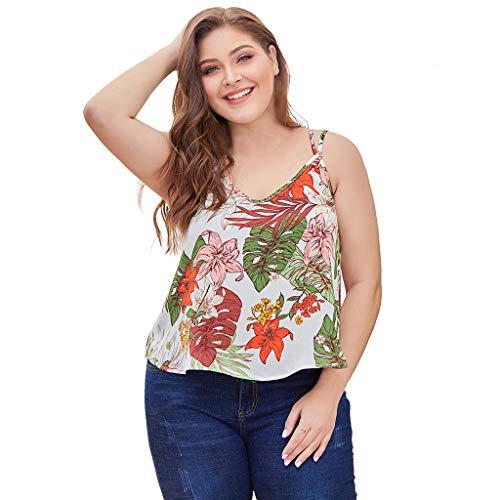 Toamen Camiseta de Mujer con Hombros Descubiertos Talla Grande Sexy Boho Estampado con Espalda Cruzada Halter Camisole Spring Shirt