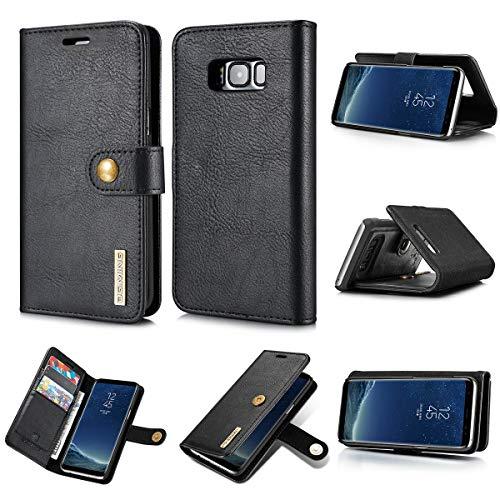 NOLOGO Caso proctive Caja del teléfono de la Caja S8 Galaxy de Samsung de Cuero Carpeta del tirón del teléfono del Caso for Samsung Galaxy S8 Coque Magnética (Color : Black)