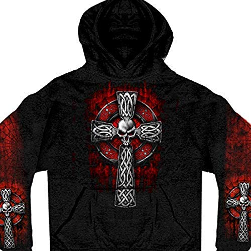 Hot Leathers Celtic Cross Pocket Hoodie (Black, XXX-Large)