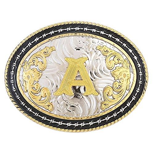 HQYYDS Corbata bolo Hebilla de cinturón de Vaquero Occidental Letra A Metal Deportes Hebilla para Hombre y cinturón de Mujer Corbata bolo para