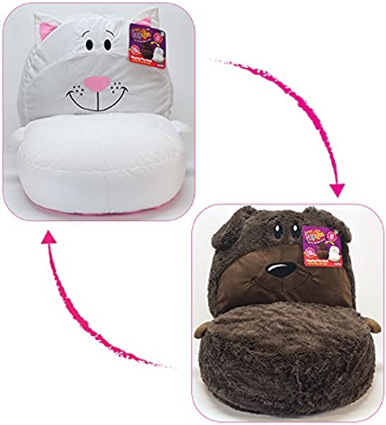 FlipaZoo 2 In1 Plush Toddler Chair Transforms From Brown Dog To White Cat Snuggly Animal Seat Makes A Great Holiday Gift For Kids