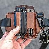 Funda de cuero EDC organizador de bolsillo - alta calidad de cuero con soporte para llave para cinturón y funda de linterna bolsa multiherramienta (marrón)