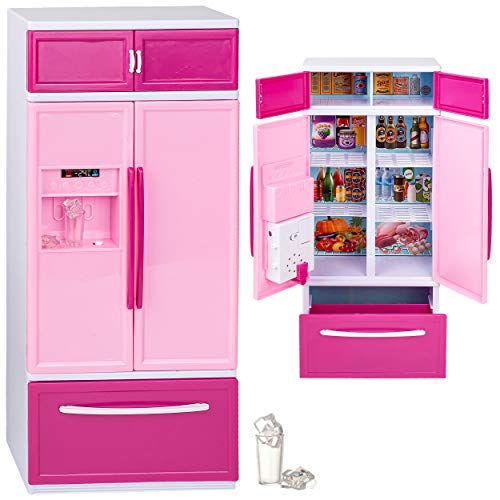 alles-meine.de GmbH Puppenhaus Möbel - Sound & Licht - Modellwahl - 31 cm groß - großer Kühlschrank mit Eiswürfelspender / Gefrierschrank - Miniatur für Puppenstube - passend für..