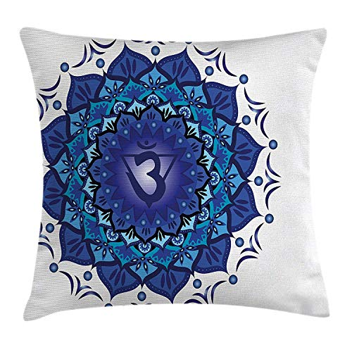 Chakra Decor Throw Pillow Cushion Cover, Digital Floral Chakra Motif with Vital Energy of Cosmos Inspired Illustration, Decorative Square Accent Pillow Case, 18 X 18 inches, Royal Blue
