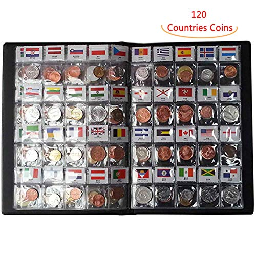 Coin Collection Set Fine Coins Nations Collection Coins Starter Kit 100% Original Genuine with Leather Collection Album Country Flag and Name(120 Countries Coins)