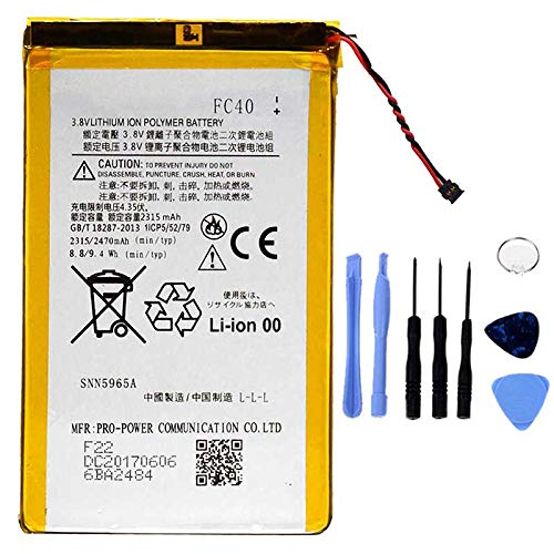 Ellenne Batería compatible con Motorola FC40 Moto G3 3ª Gen XT1540 XT1541 AD alta capacidad 2470 mAh con kit de desmontaje incluido